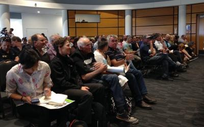 Farmers at the mycoplasma bovis meeting in Napier.