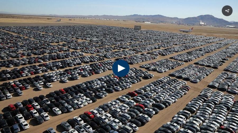 "What resembles a giant car park in the middle of the desert in California is just one of Volkswagen's sprawling ""graveyards""."
