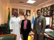 Taken at King Saud University, from left:  Professor Abdullah Aldahmash, director of the university's Prince Naif Research Centre, Dr Hong Sheng Chiong and Dr Zakiuddin Ahmed programme director of RAHAH.